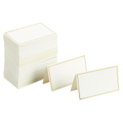 Pack of 100 Place Cards - Small Tent Cards with Gold Foil Border - Perfect for Weddings, Banquets, Events, 5.1cm x 8.9cm