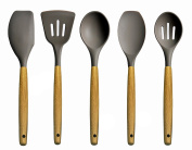 Mulan 5 Piece Silicone Cooking Utensil, Set Heat-Resistant Household Kitchenware with Natural Beech Handle
