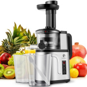 Kitchen Komforts Juicer Machine, 150W Masticating Slow Juicer Extractor, Cold Press Juicing Process for Higher Nutritional Value & Juice Yield with Two Speed Settings