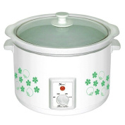 Narita 5.5Q Slow Cooker, White with Flower - NSC55