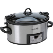 Crock-Pot 5.7l. Programmable Cook & Carry Slow Cooker with Digital Timer, Stainless Steel