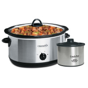Crockpot SCV803-SS 7.6l Manual Slow Cooker with 470ml Little Dipper Food Warmer, Stainless Steel