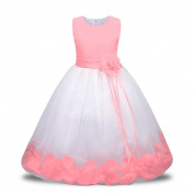Lace Tulle Flower Girl Dresses Kid Sleeveless Wedding Formal Bridesmaid Party Princess Dress Internet Kids Girls Lace Tulle Wedding Bridesmaid Communion Party Bowknot Dress Formal Pageant Birthday