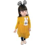 Dreamkon Fashion Toddler Kids Baby Girl Cute Bunny Splice Yarn Party Princess Tulle Dress