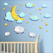 Moon, stars, clouds, sheep wall stickers Nursery wall decal Childrens Wall Stickers, Multi-Colour Art 215