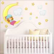 Moon, stars, clouds wall stickers Nursery wall decal Childrens Wall Stickers, Multi-Colour Art 214