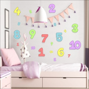 Numbers wall stickers Nursery wall decal Childrens Wall Stickers, Multi-Colour Art 212