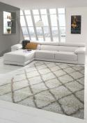Shaggy Living Room Carpet Shaggy Long-pile Diamond Pattern in Cream Beige size 80x150 cm