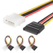 [3 Pack] J & D SATA 15 pin to 4 pin LP4 Molex Power Cable Adapter