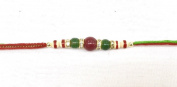 Green/Red & Wooden Beads with Diamante–Rakhi Thread/Rakhi Bracelet/Bhaiya Series