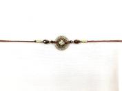 Diamante Wooden Design with beading -Rakhi Thread/ Rakhi Bracelet/ Bhaiya Series