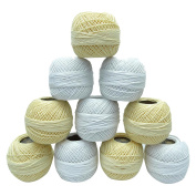 10 Pcs Mercer Cotton Crochet Yarn Knitting Tatting Skein Embroidery Thread