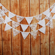 Pennant Bunting Banners,Single layer Rose flower Lace cotton Triangle flagfor Indoor/Outdoor Children Birthday Parties Supplies, Wedding, Engagement Christmas Festivals Decorations,2pcs