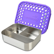 LunchBots Trio Stainless Steel Food Container - Three Section Design Perfect for Healthy Snacks, Sides, or Finger Foods On the Go - Eco-Friendly, Dishwasher Safe and BPA-Free - Purple Dots