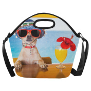 AnnHomeArt dog Neoprene Lunch Bag Lunch Tote Lunch Boxes Large