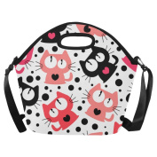 AnnHomeArt cat pattern Neoprene Lunch Bag Lunch Tote Lunch Boxes Large