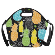 AnnHomeArt pineapple Neoprene Lunch Bag Lunch Tote Lunch Boxes Large