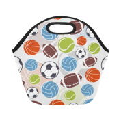 AnnHomeArt balls Neoprene Lunch Bag Lunch Tote Lunch Boxes Small