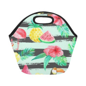 AnnHomeArt flamingo and fruits Neoprene Lunch Bag Lunch Tote Lunch Boxes Small