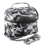 NEX Portable Lunch Bag with Adjustable Shoulder Strap and Comfortable Handle, Fabric Lunch Box for Men Women Kids Double Decker Cooler (Camouflage