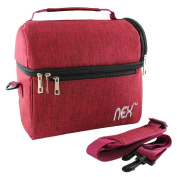NEX Portable Lunch Bag with Adjustable Shoulder Strap and Comfortable Handle, Fabric Lunch Box for Men Women Kids Double Decker Cooler