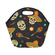 AnnHomeArt skull Neoprene Lunch Bag Lunch Tote Lunch Boxes Small