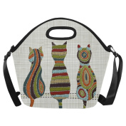 InterestPrint Embroidery Cats Oriental Large Reusable Insulated Neoprene Lunch Tote Bag Cooler 38cm x 36cm x 17cm , Animal Pet Portable Lunchbox Handbag with Shoulder Strap