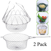 2pcs Chef Deep Fry Basket with handle Stainless Steel Foldable Steam Rinse Strain Food oil Strainer Colander Steamer Kitchen Cooking Net for French Fires Fruits Vegetables Spaghetti Gift