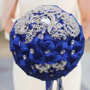 GHJK Bride Bouquet, White Crystal Bridal Bridesmaid Wedding Bouquet Artificial Flowers