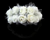 Fletion 144 PCS Small Mini Cute Artificial Rose Flower Romantic Wedding Bride Holding Flowers Decorative Bouquets Candy Cake Box Card Craft DIY Home Garden Decor