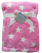 Baby Girls Gorgeous Pink and White Soft Cuddly Stars Wrap Blanket
