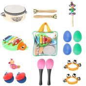 Toddler Toys Musical Instruments - Ehome 9 types 16pcs Percussion Toy Set for Kids Preschool Educational Early Learning Toys Musical Toys for Boys and Girls with Carrying Bag