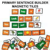 MFM TOYS Primary Sentence Builder Kit English Language 101 Magnetic Tiles (Ages 4+)