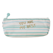 "LALANG Fresh Style Mini Green Canvas Pencil Bag Stationery Storage Organiser Bag with letters ""it is my favourite bag"""
