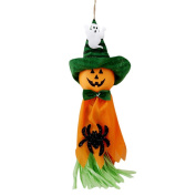 LALANG Orange Halloween Props Horror Toothy Hanging Ghost Demon Devil Scary Decoration