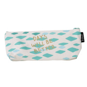 "LALANG Fresh Style Mini Green Canvas Pencil Bag Stationery Storage Organiser Bag with letters ""days will be better"""