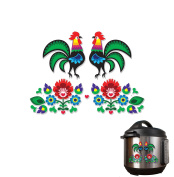 Dutch Folk Art Flowers and Rooster Full Colour Vinyl Decal Pack 2 -Sided Wrap Sized To Fit an Instant Pot