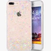 iPhone 8 Plus Case,iPhone 7 Plus Bling Glitter TPU Case,PHEZEN Shiny Sparkling Glitter Hexagonal Star Flexible Soft Rubber Gel Clear TPU Cases Silicone Back Case for iPhone 8 Plus /iPhone 7 Plus 14cm