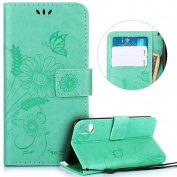 iPhone X Case,iPhone X Wallet Case,PHEZEN Vintage Emboss Flower Butterfly PU Leather Wallet Flip Protective Case Cover with Card Slots & Kickstand for iPhone X, Green