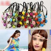 HuntGold 1X Girl's Beach Party Wedding Floral Flower Hairband Headwear Headband