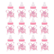 Hysagtek 12PCS Mini Fillable Feeder Style Candy Box Bottle with Bow-knot Baby Shower Favours Christening Gift