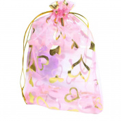 Luxury 100 Pcs Heart Organza Drawstring Jewellery Favour Bag Wedding Party Gift Bag Candy Storage Pouches Bag