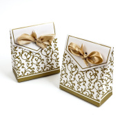 Wedding Favour Candy Boxes Party Gift Bomboniere Boxes With Ribbons 100Pcs Gold