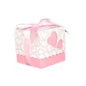 Hrph 50pcs Love Heart Cut Gift Candy Boxes Valentine's Day Wedding Party Favour Candy Bags With Ribbon Decor