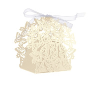 Hrph 50pcs Romantic Decor Butterfly DIY Candy Cookie Gift Boxes Bags Party Wedding Birthday Candy Box with Ribbon