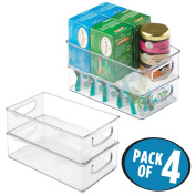 mDesign Kitchen Cabinet and Pantry Storage Organiser Bins - Pack of 4, Shallow, Clear