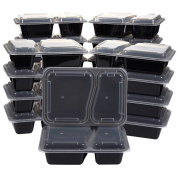 20-Pack Bento Lunch Box - 2-Compartment Meal Prep Containers with Lids - BPA Free, Stackable, Microwave and Dishwasher Safe - 1060ml Durable Plastic Reusable Food Storage Set