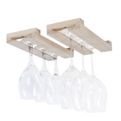 Rustic State Farmhouse Charm Under Cabinet Wine Glass Rack Wood Unfinished Natural 30cm Set of 2