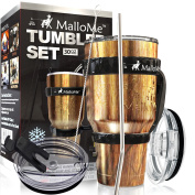 MalloMe Stainless Steel Vacuum Insulated 6-Piece Tumbler Set [Straw, Brush, Handle, 2x Lid Included] Wood Grain Camouflage 890ml