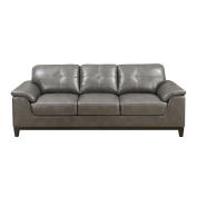 Emerald Home Marquis Grey Sofa with Faux Leather Upholstery, Padded Arms, And Contrast Stitching